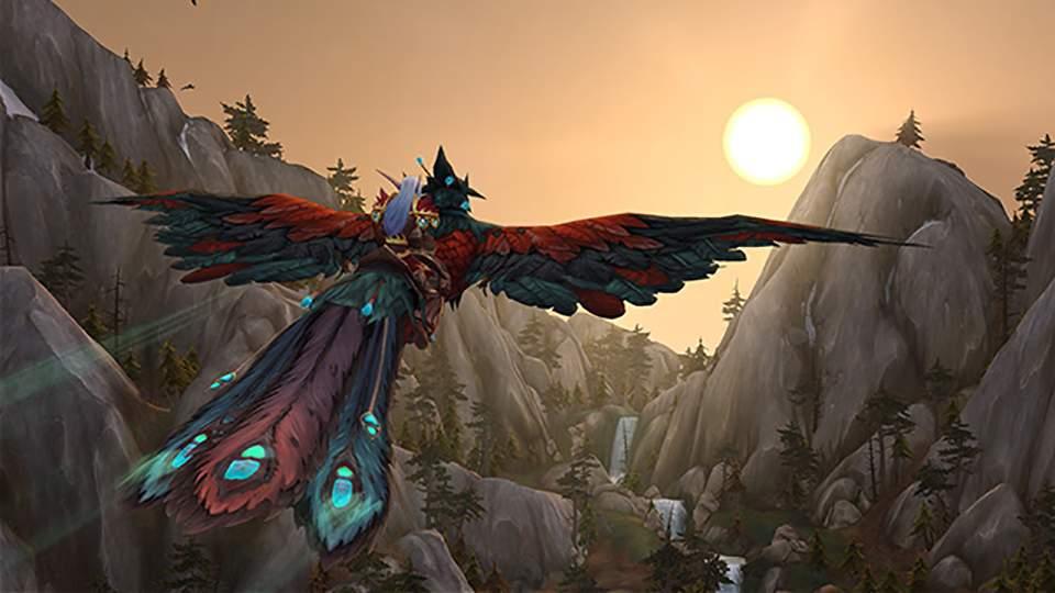 Ilustração de World of Warcraft mostrando personagem voando montado em um pássaro vermelho gigante