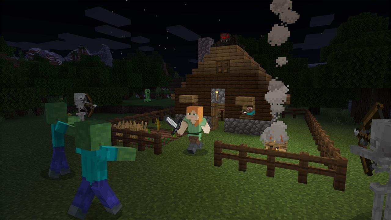 Ilustração de Minecraft mostrando uma personagem armada e cercada por zumbis e esqueletos