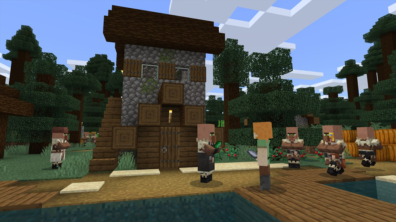 Ilustração de Minecraft mostrando um personagem em meio a uma fazendo com diversos aldeões