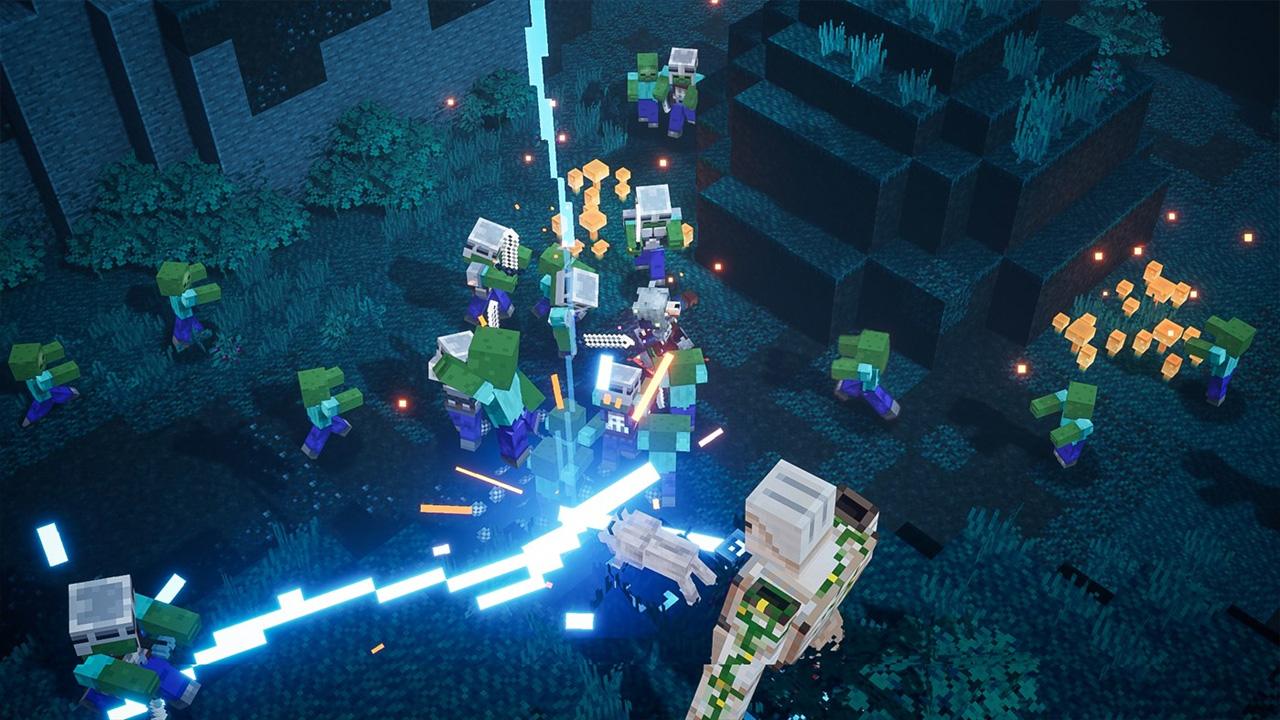 Ilustração de MInecraft Dungeons mostrando uma caótica luta entre o personagem com zumbis e esqueletos