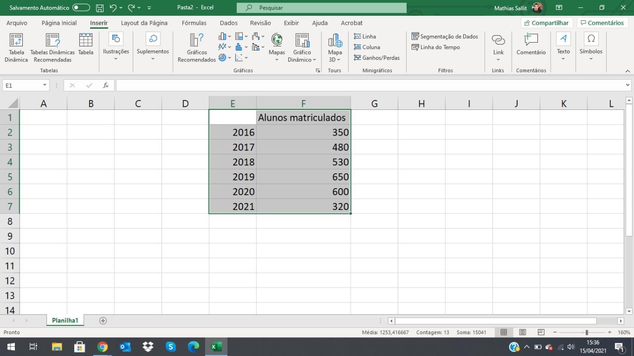 Como fazer gráfico no Excel 3