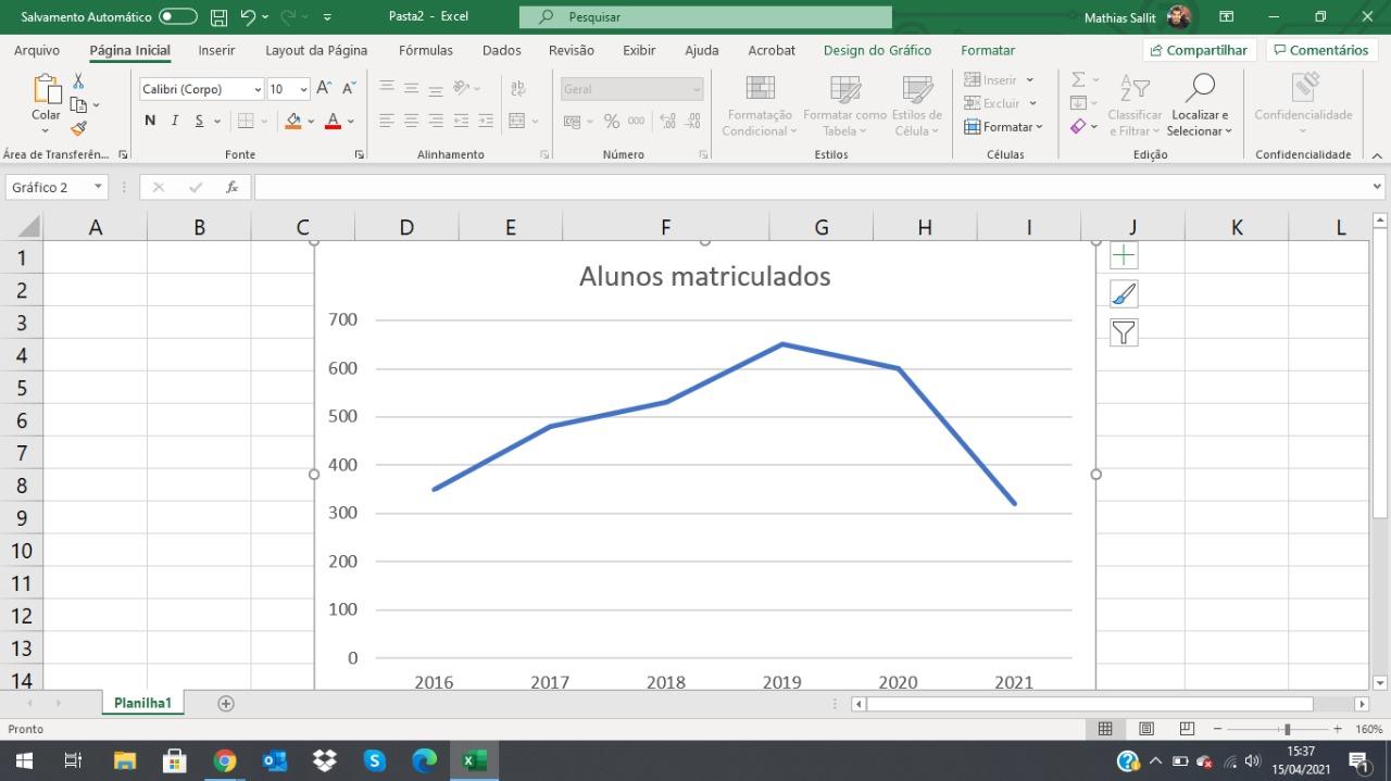 O gráfico será inserido no Exel (Foto: Reprodução/Zoom)