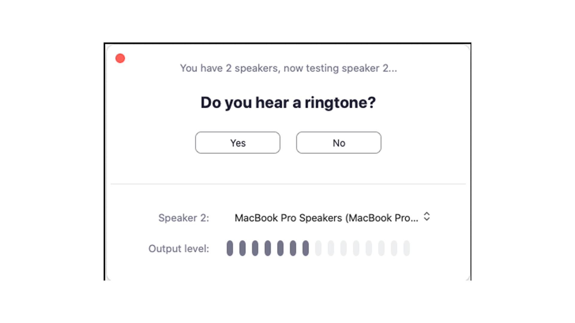 Você pode testar seus fones também nesta opção (Foto: Reprodução/Zoom Meetings)
