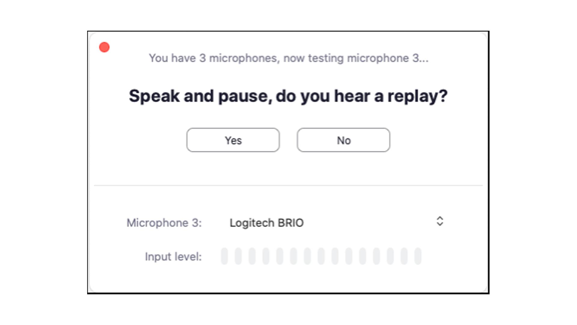 O teste de microfone é muito simples de ser feito (Foto: Reprodução/Zoom Meetings)