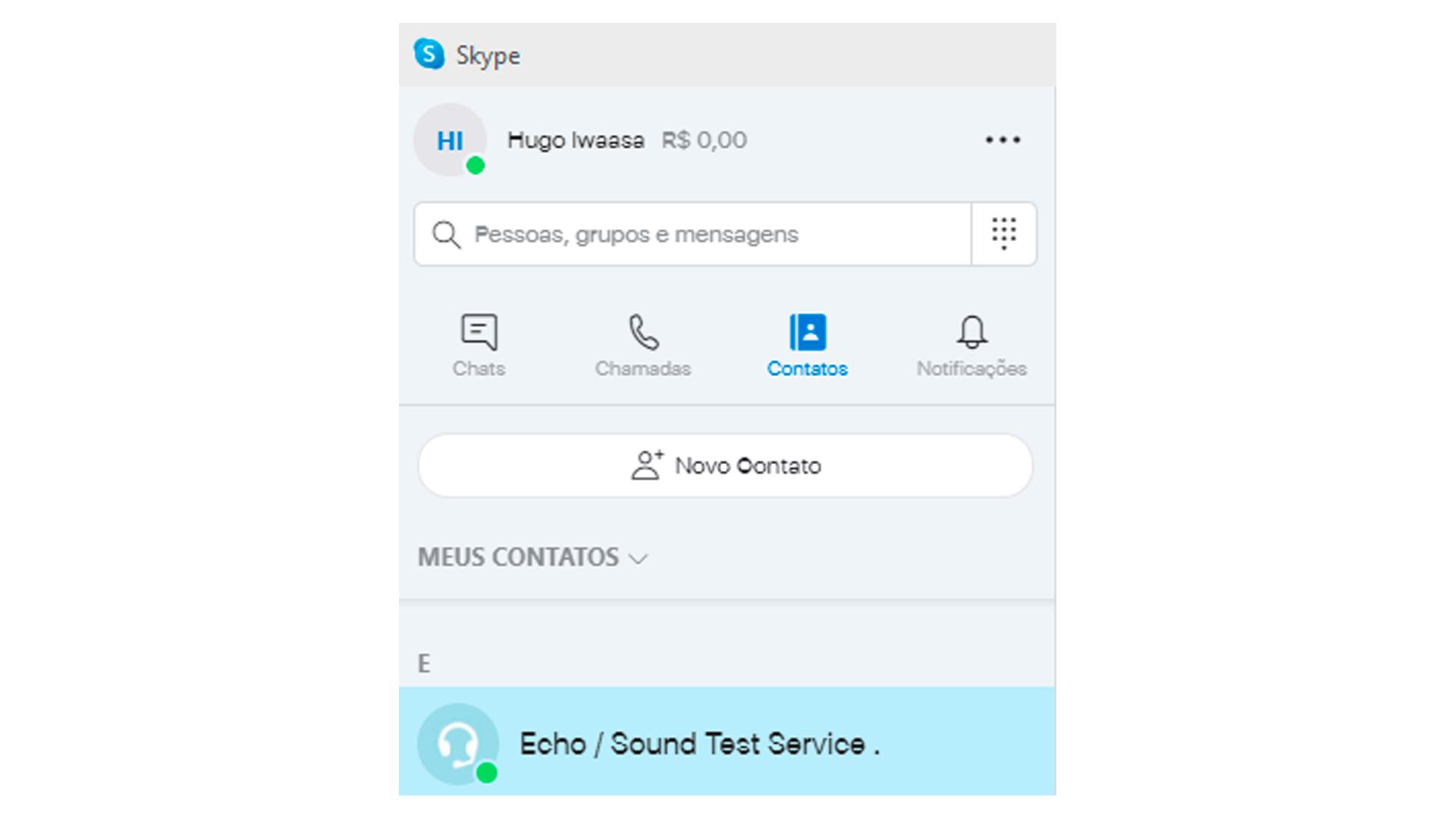 """Todas as contas possuem o """"Echo/Serviço teste de Som"""" por padrão para o teste de microfone online (Reprodução: Hugo Iwaasa)"""