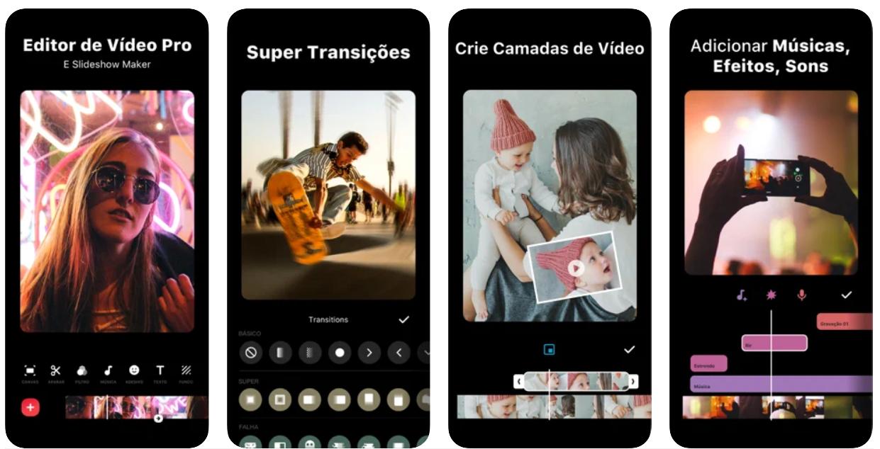 Imagem mostra interface do app Inshot