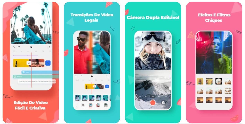 Imagem mostra interface do app FilmoraGo
