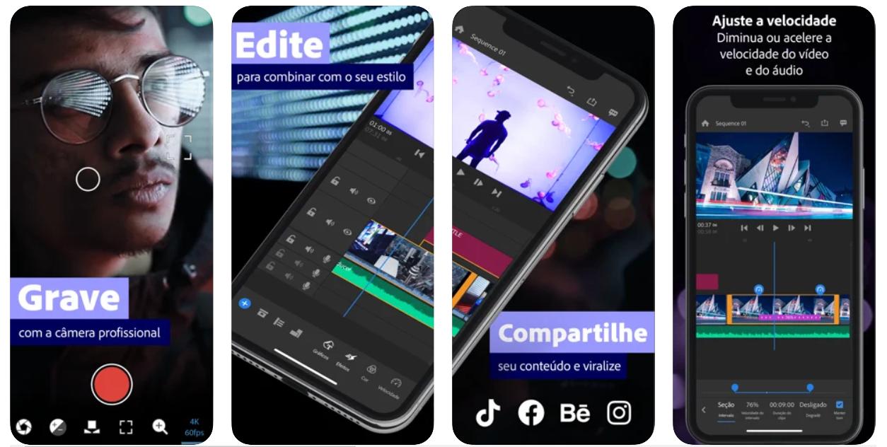Imagem mostra interface do app Adobe Premiere Rush