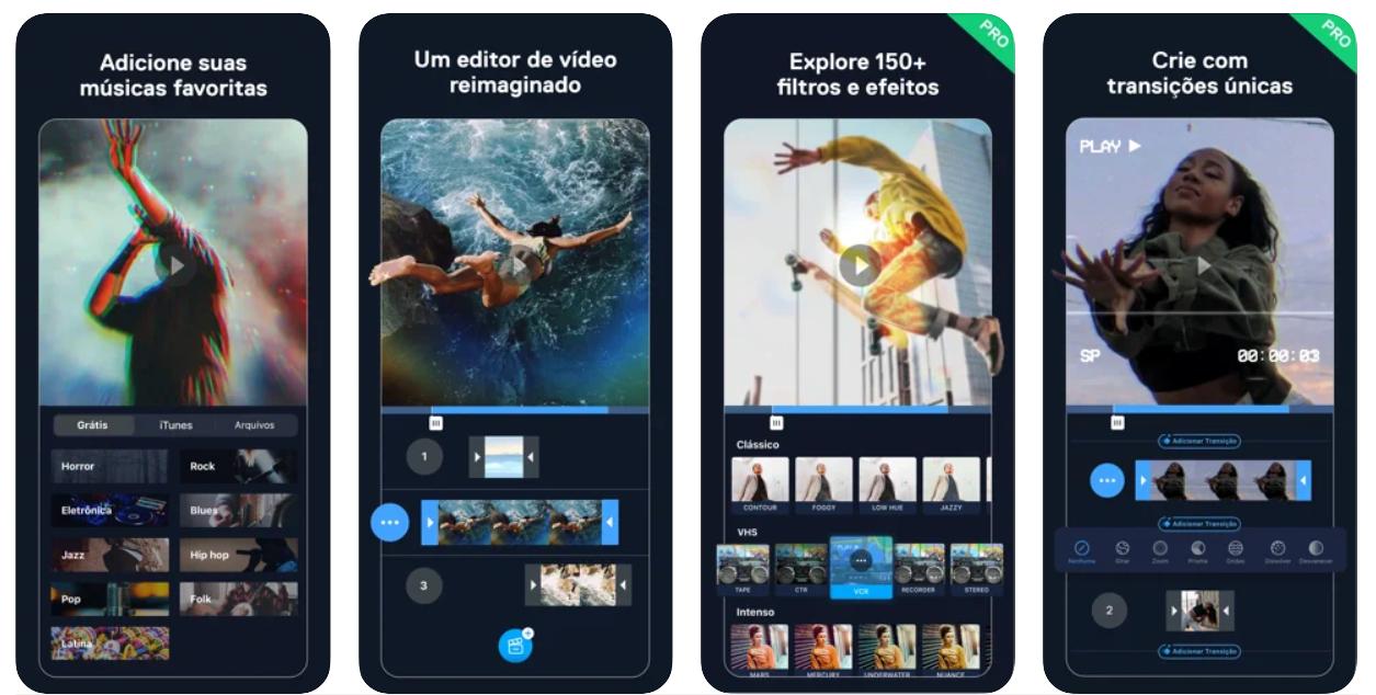 Imagem mostra interface do app Filmr