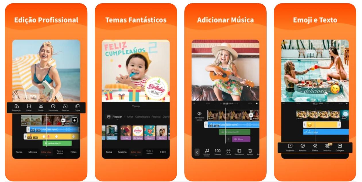 Imagem mostra interface do app VivaVideo