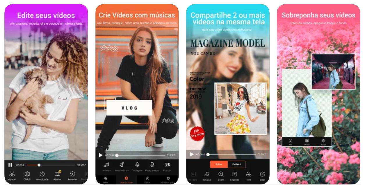 Imagem mostra interface do app VideoShow