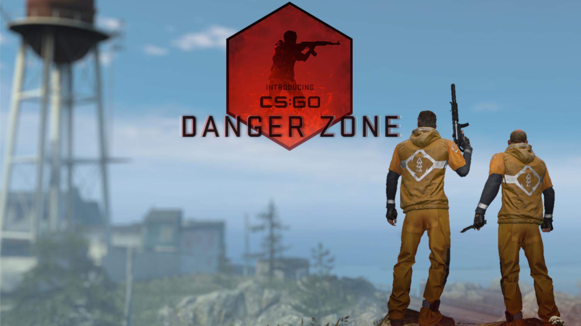 Ilustração promocional do modo Danger Zone de CS:GO, com dois personagens armados e com casaco amarelo