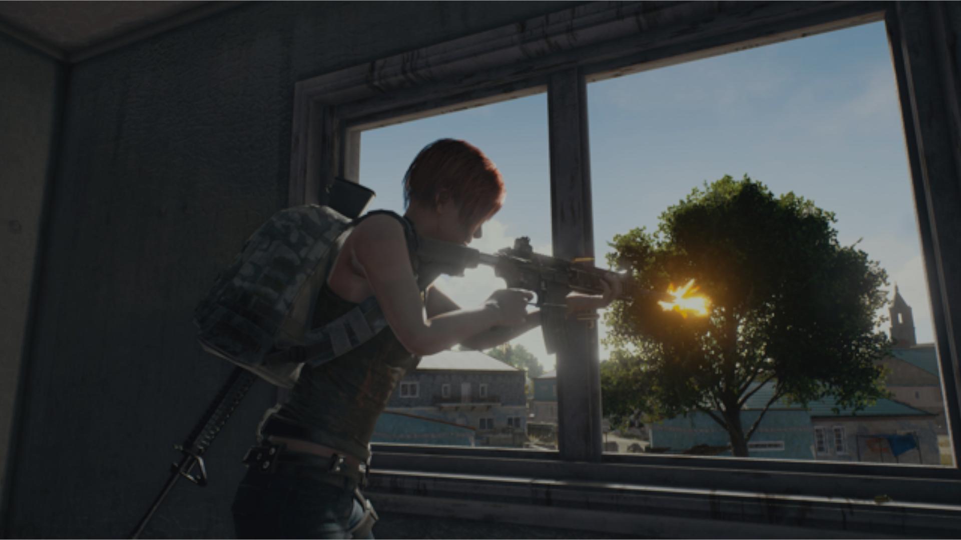 Ilustração promocional de PUBG mostrando personagem feminina atirando a partir da janela de uma casa