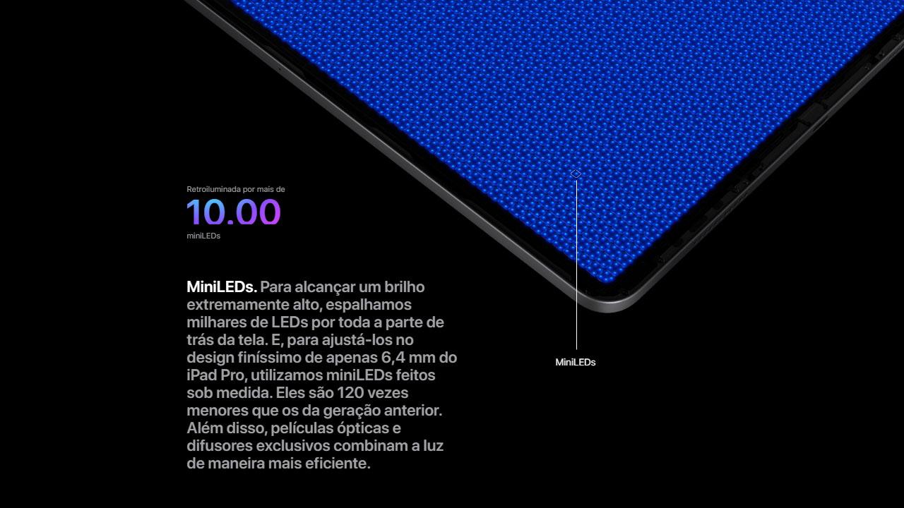 O iPad Pro de 12,9 polegadas possui tela com mini-LED. (Foto: Divulgação/Apple)