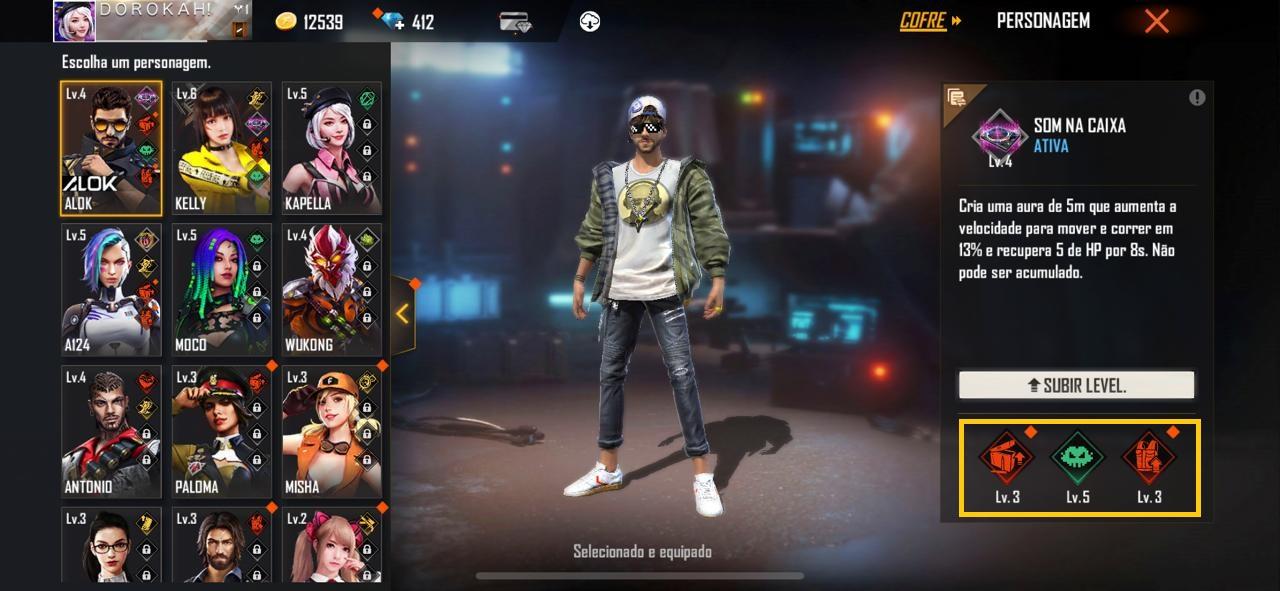 Dicas: Free Fire permite utilizar habilidades de vários personagens ao mesmo tempo (Foto: Reprodução)