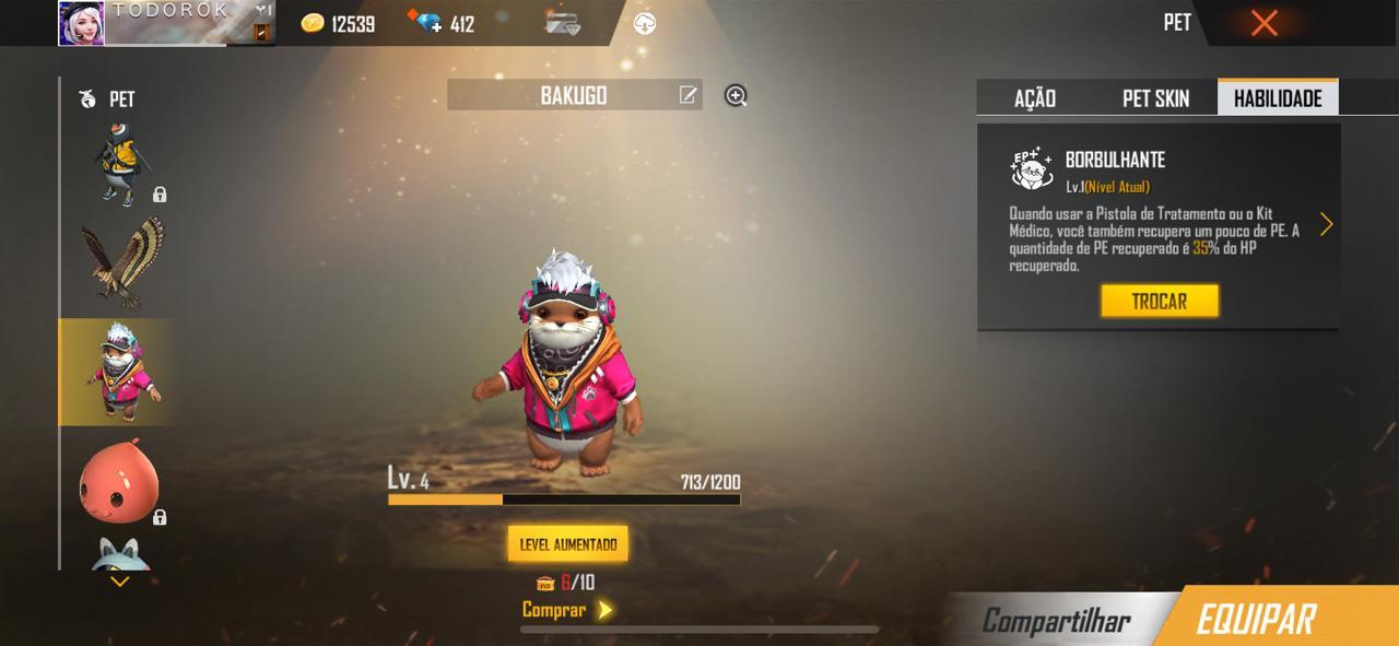 Os animais disponíveis para compra no Free Fire também oferecem vantagens para o game (Foto: Reprodução)