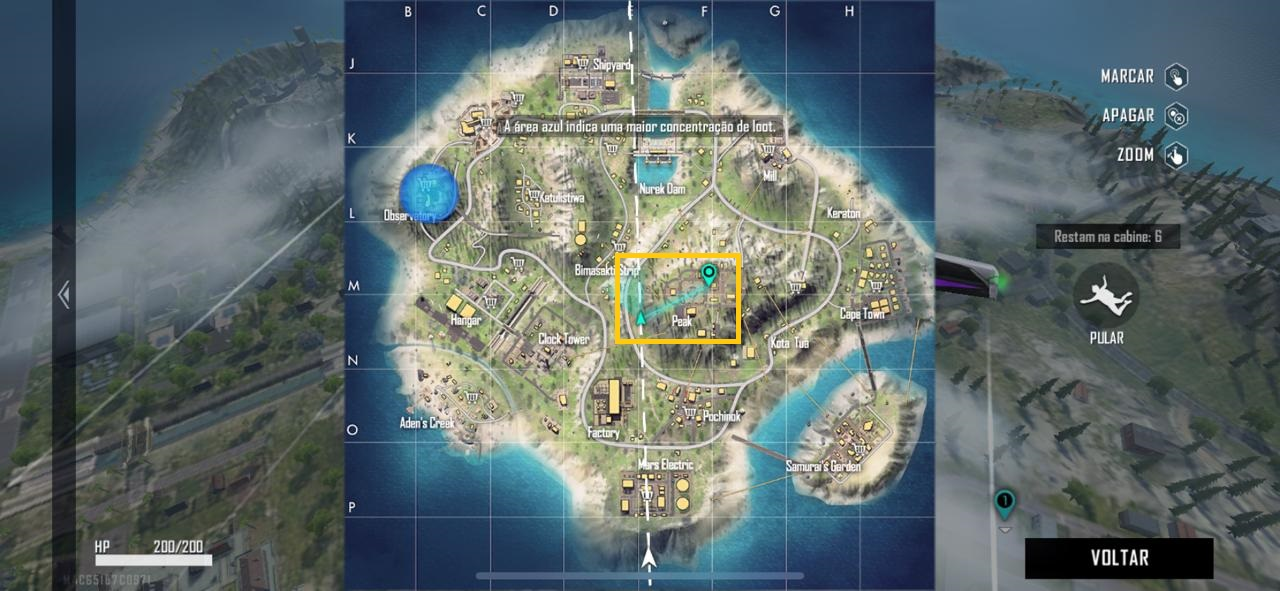 Para facilitar a queda no início da partida, é possível marcar no mini mapa a região desejada (Foto: Reprodução)