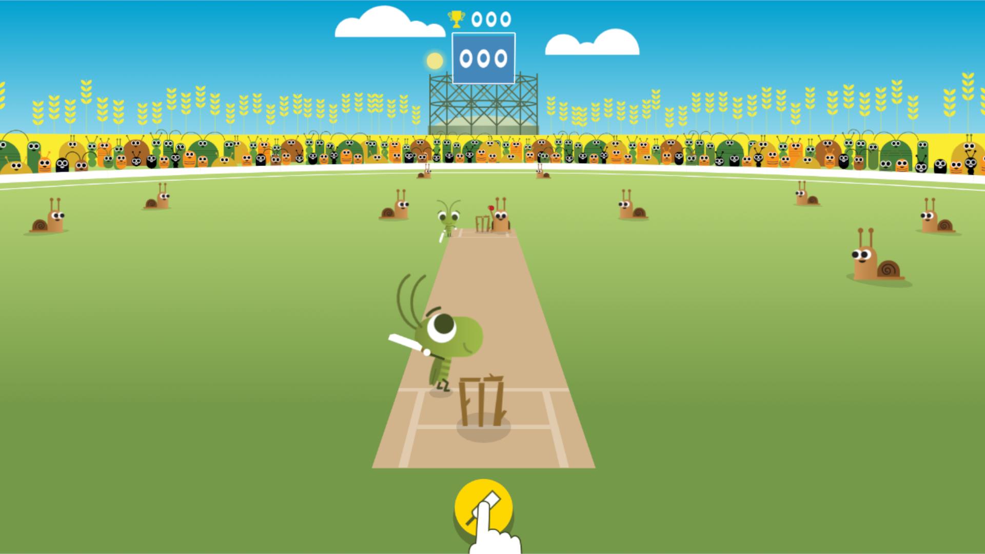 Jogue críquete com grilos e conheça mais sobre esse esporte (Fonte: Google Doodle)