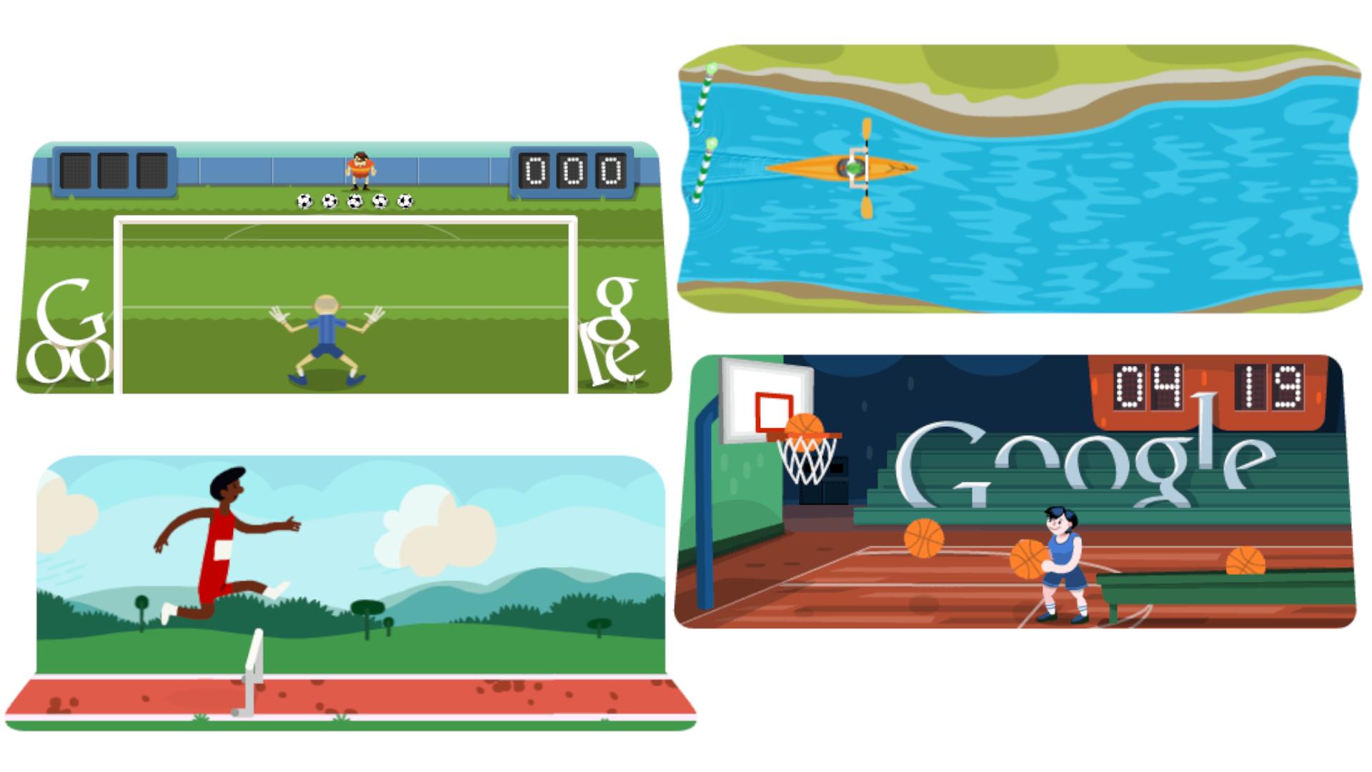 Nas Olimpíadas de 2012, foram feitos quatro jogos conhecidos do Google Doodle (Fonte: Google Doodle)