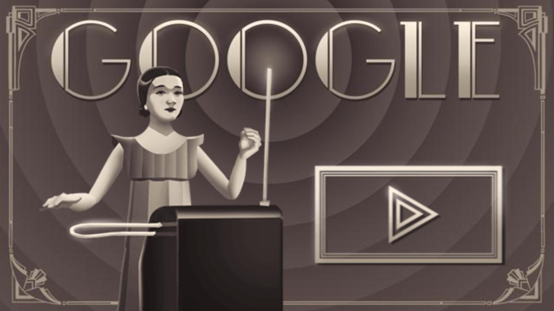 Clara Rockmore ensina a tocar o teremin (Fonte: Google Doodle)