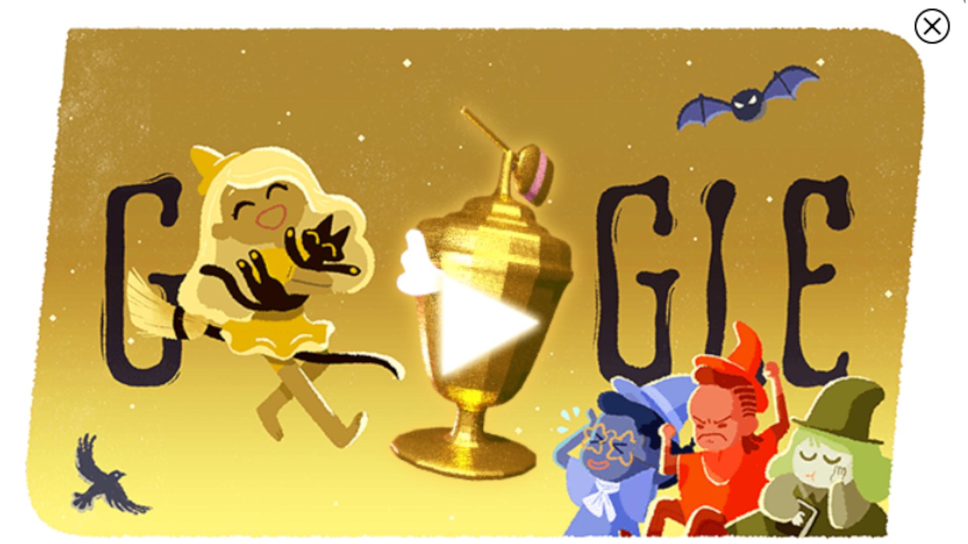 A Copa Mundial de Doces usou placar mundial para contar pontuação de 4 times de bruxas (Fonte: Google Doodle)