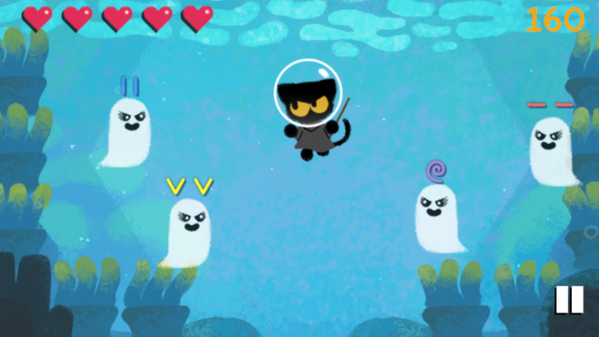 Um gato preto usa sua varinha mágica para enfrentar fantasmas em dois jogos comemorativos do Google Doodle (Fonte: Google Doodle)