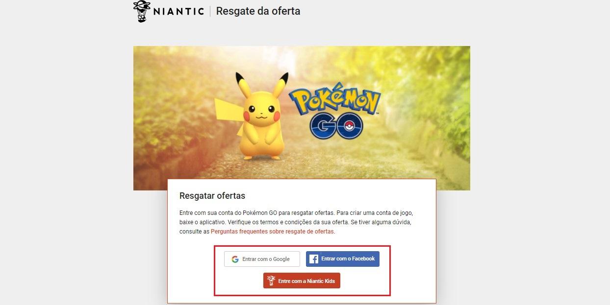 O site da Niantic Lab é uma das plataformas disponíveis para resgatar códigos Pokémon Go (Foto: Reprodução/Úrsula Gomes)