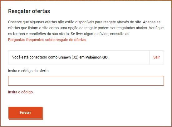 Ao encontrar códigos Pokémon Go, insira-os nos espaços corretos do site da Niantic Lab (Foto: Reprodução/Úrsula Gomes)