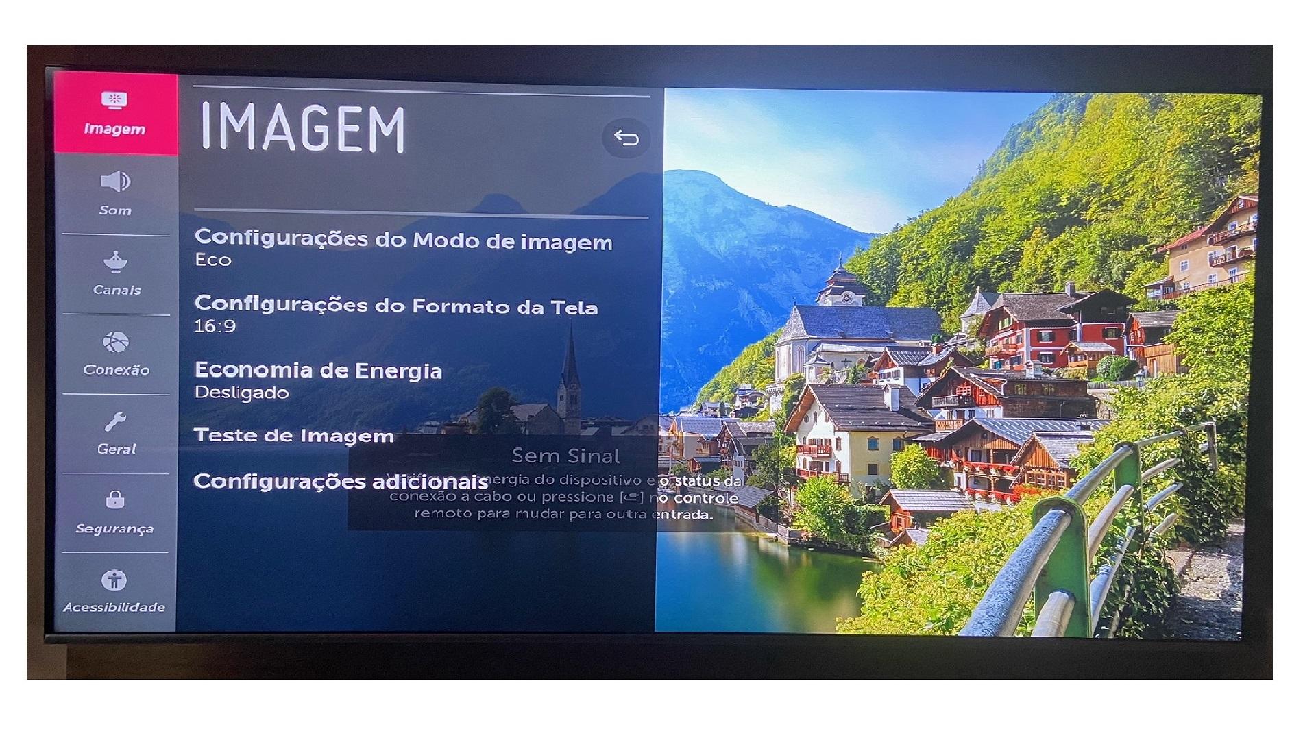 Para ligar o bluetooth da TV LG é preciso ir até às configurações (Imagem: Arquivo Pessoal/Dayane Barbosa)