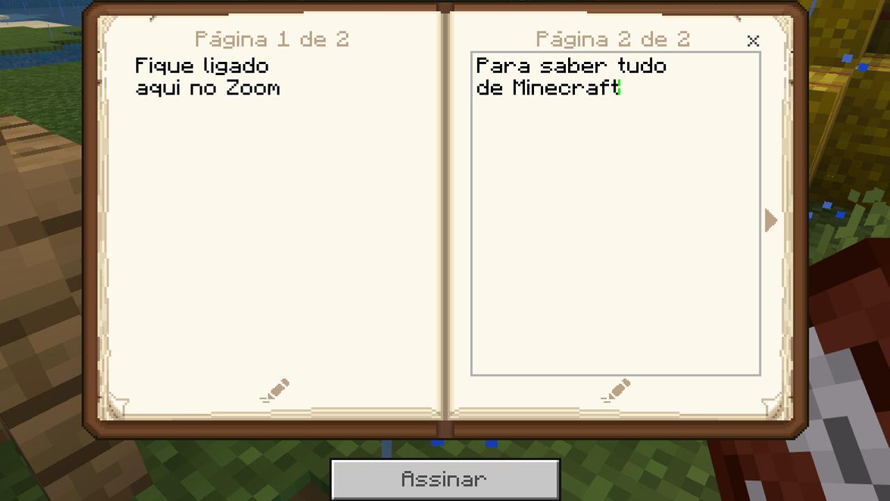 Após o livro com pena ter sido criado, o usuário pode escrever nele como se fosse um livro comum (Reprodução: Redação Zoom)