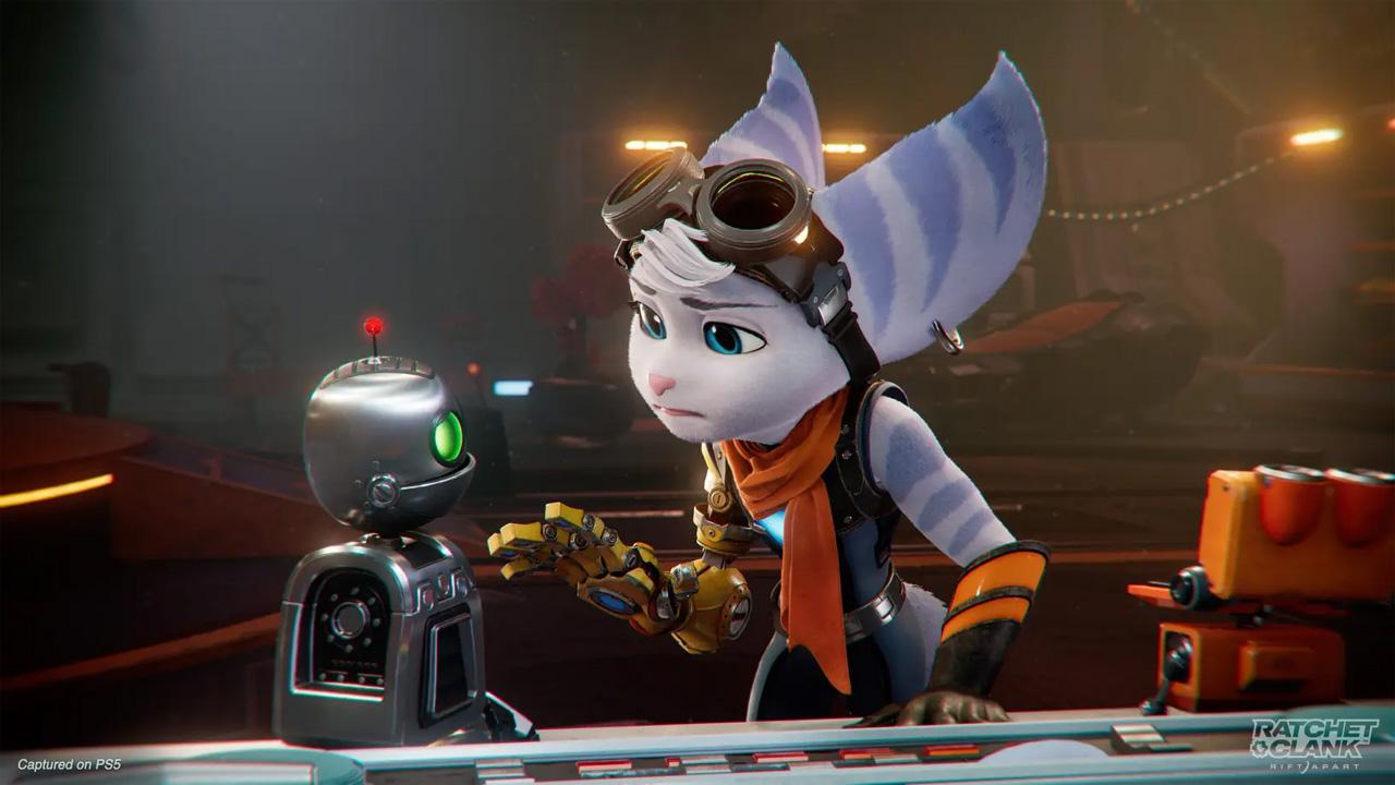 Rivet é a nova protagonista de outra dimensão em Ratchet and Clank: Rift Apart ao lado da conhecida dupla de heróis (Reprodução: PlayStation Blog)