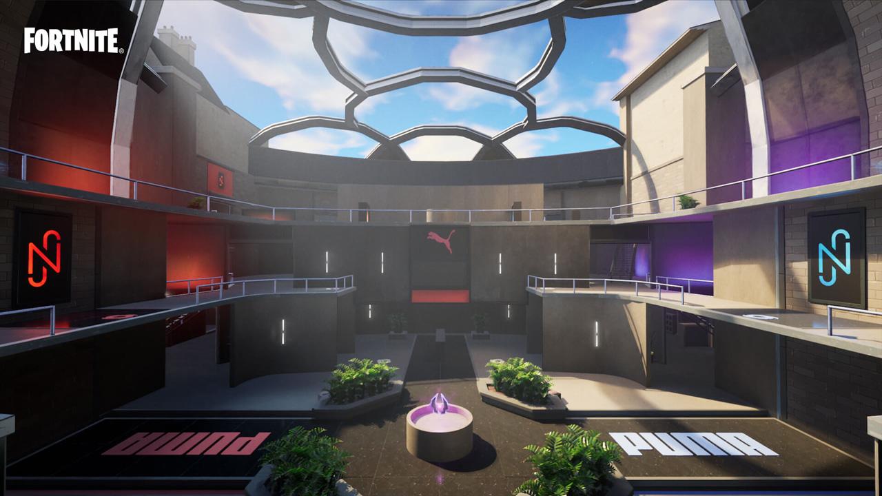 Até o dia 4 de maio jogadores poderão acessar o hub de boas-vindas para Neymar em parceria com a Puma no modo criativo de Fortnite (Reprodução: Epic Games)