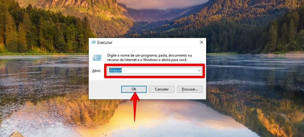 """Digite """"diskpart"""" para começar a criar pendrive bootável pelo CMD (Foto: Reprodução/Filipe Salles)"""