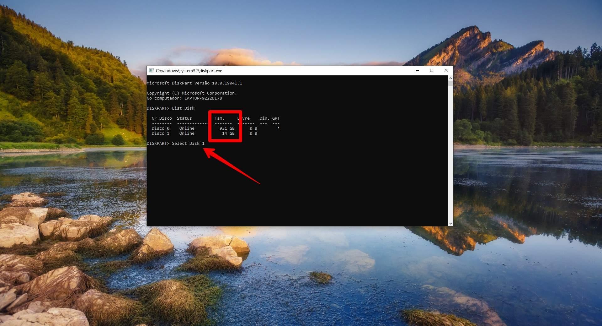 O comando Select Disk faz com que as próximas instruções sejam executadas no disco selecionado. (Foto: Reprodução/Filipe Salles)