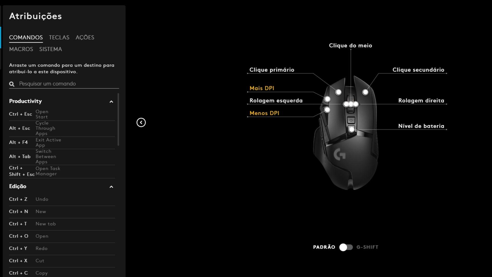 Esses são os comandos padrão dos botões de cima do mouse Logitech G502 Lightspeed (Reprodução: Guilherme Toscano)
