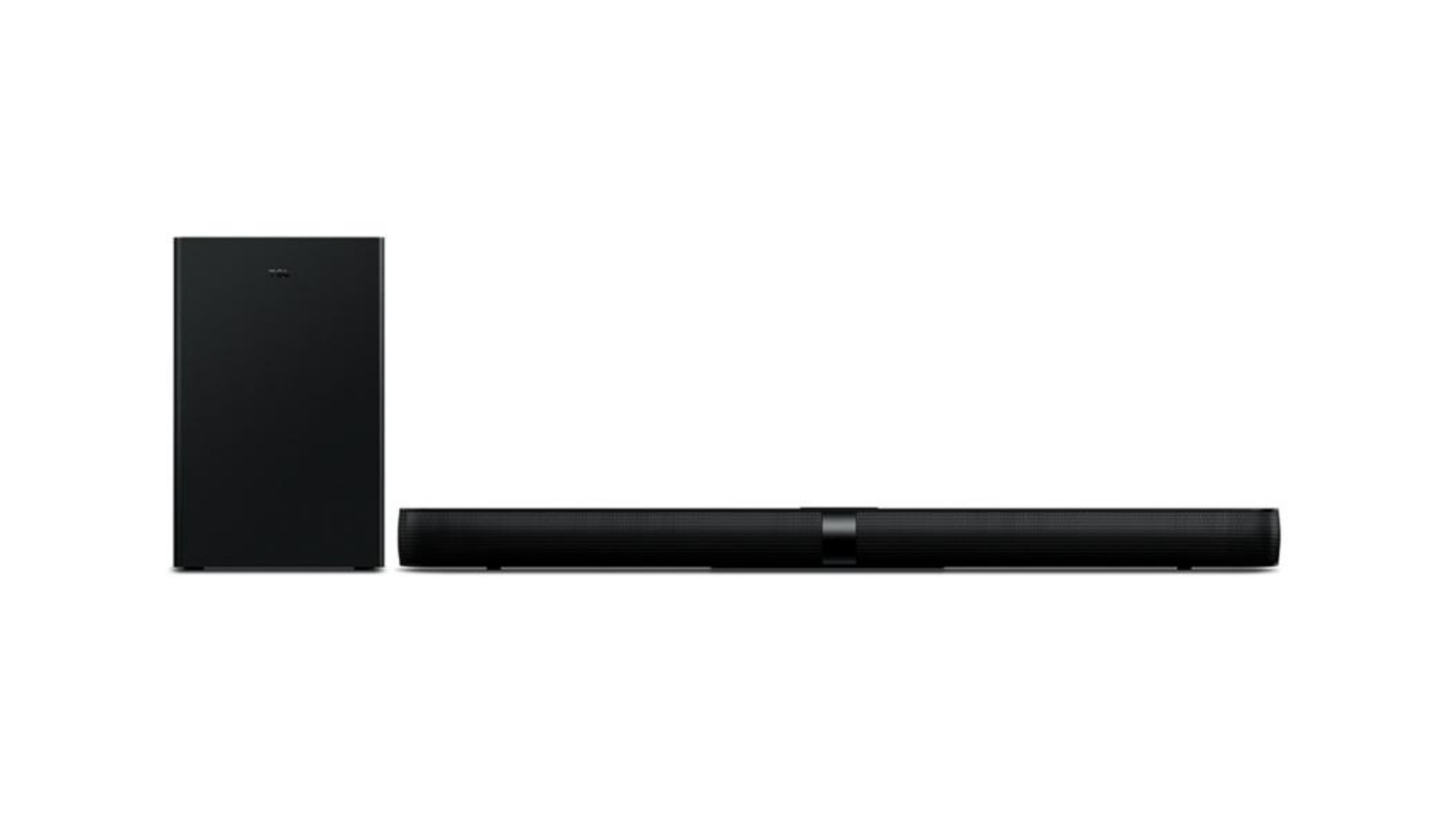 Desenvolvida em plástico fosco, a Soundbar TCL traz um design moderno para o seu rack. (Imagem: Divulgação/TCL)
