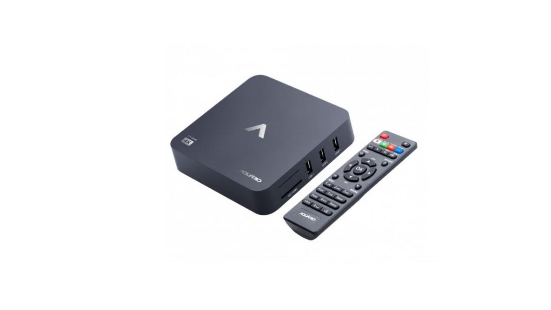 A TV Box Aquário STV-2000 é um aparelho 100% nacional e é compatível até mesmo com as TVs de tubo. (Imagem: Divulgação/Aquário)