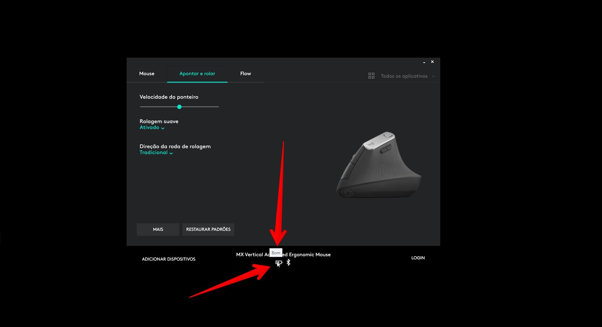 Você pode ver o nível de bateria do mouse Logitech MX Vertical em qualquer tela do Logitech Options (Foto: Reprodução/Filipe Salles)