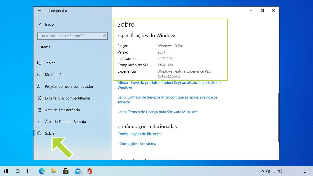 """Na seção """"Sobre"""" do menu o usuário terá como ver a versão do Windows 10 e mais detalhes (Reprodução: Redação Zoom)"""