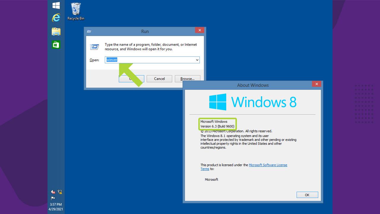 """Utilize o menu Executar do Windows 8 e digite """"winver"""" para ter como ver a versão do Windows instalada (Reprodução: Redação Zoom)"""