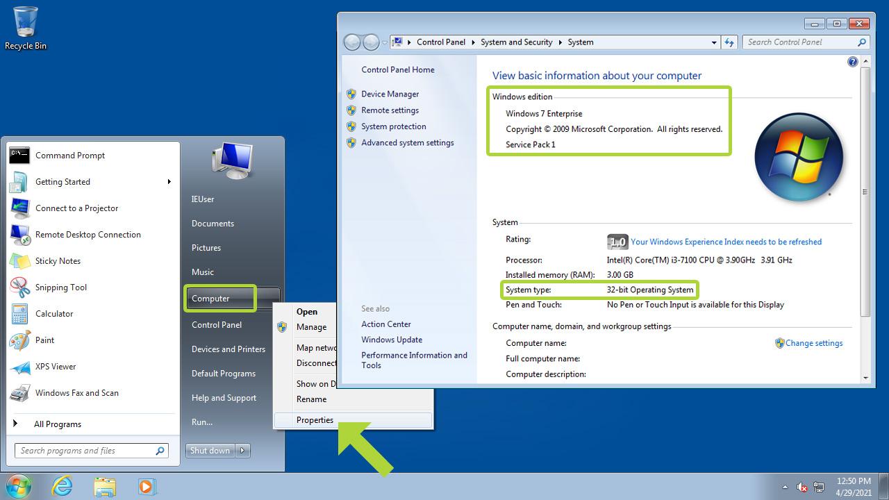 No Windows 7 clique em Computador com o botão direito, depois Propriedades e as informações do sistema operacional estarão disponíveis (Reprodução: Redação Zoom)