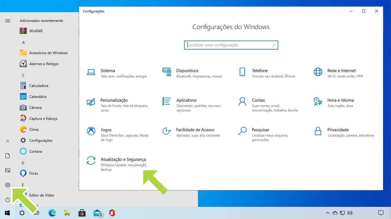 """Abra o menu de Configurações como no primeiro passo, mas selecione a opção """"Atualização e Segurança"""" (Reprodução: Redação Zoom)"""