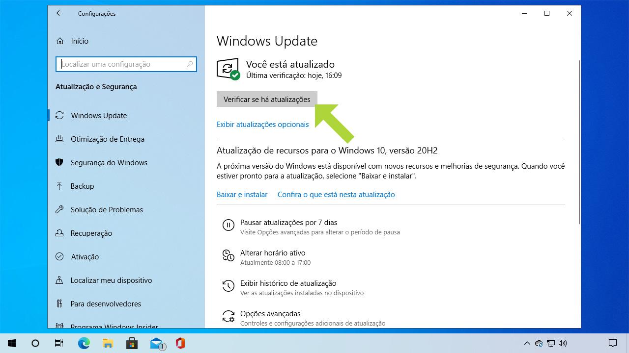 """Na seção do Windows Update clique em """"Verificar se há atualizações"""" para saber se a versão instalada do sistema é a mais recente (Reprodução: Redação Zoom)"""