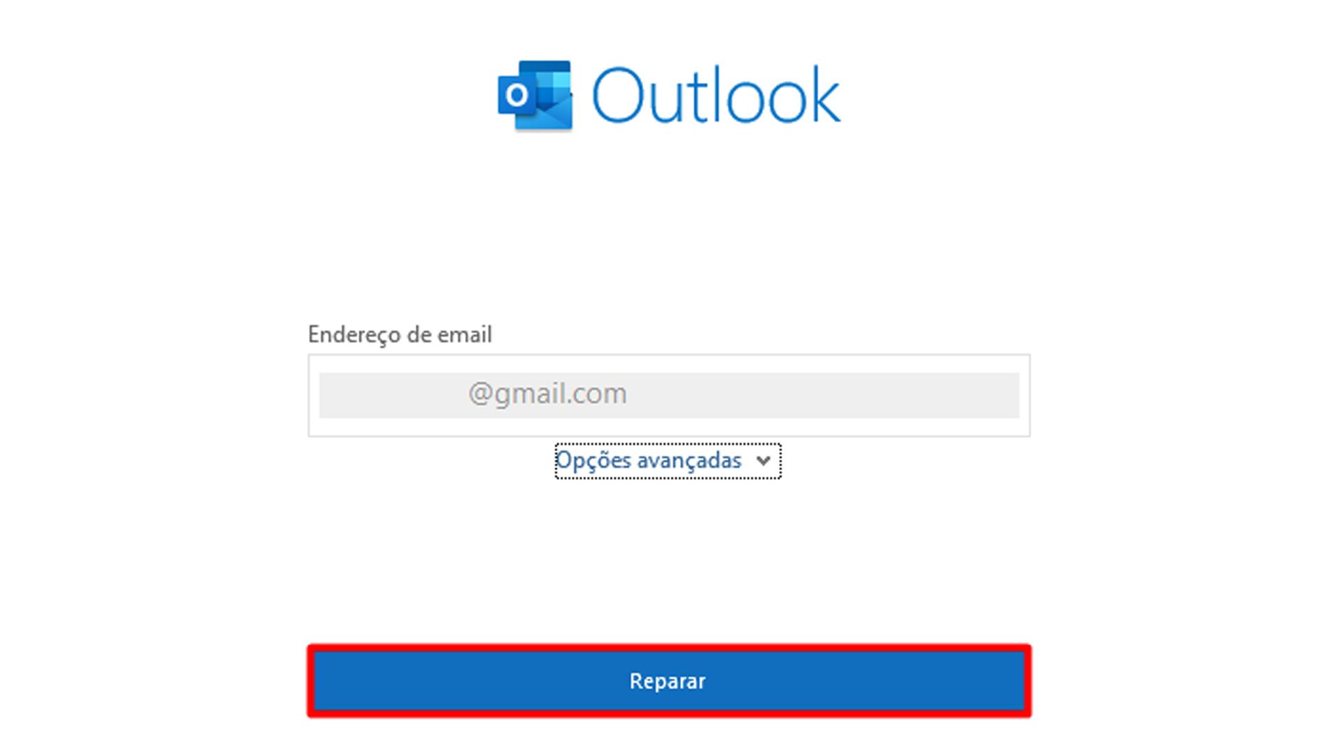 """O usuário deverá clicar em """"reparar"""" para seguir adiante (Fonte: Reprodução / Internet)"""