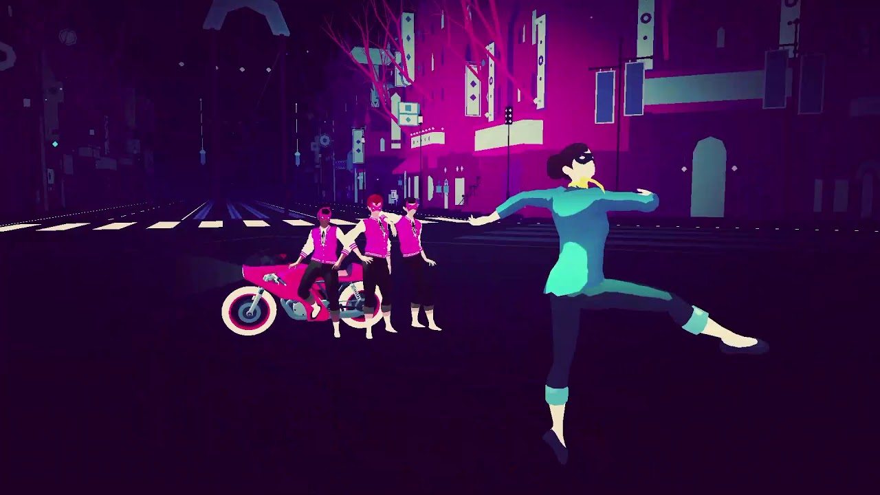 sayonara wild hearts apple arcadeJogo Sayonara Wild Hearts com mulher dançando de roupa verde e sendo observada por três homens de colete rosa em uma moto