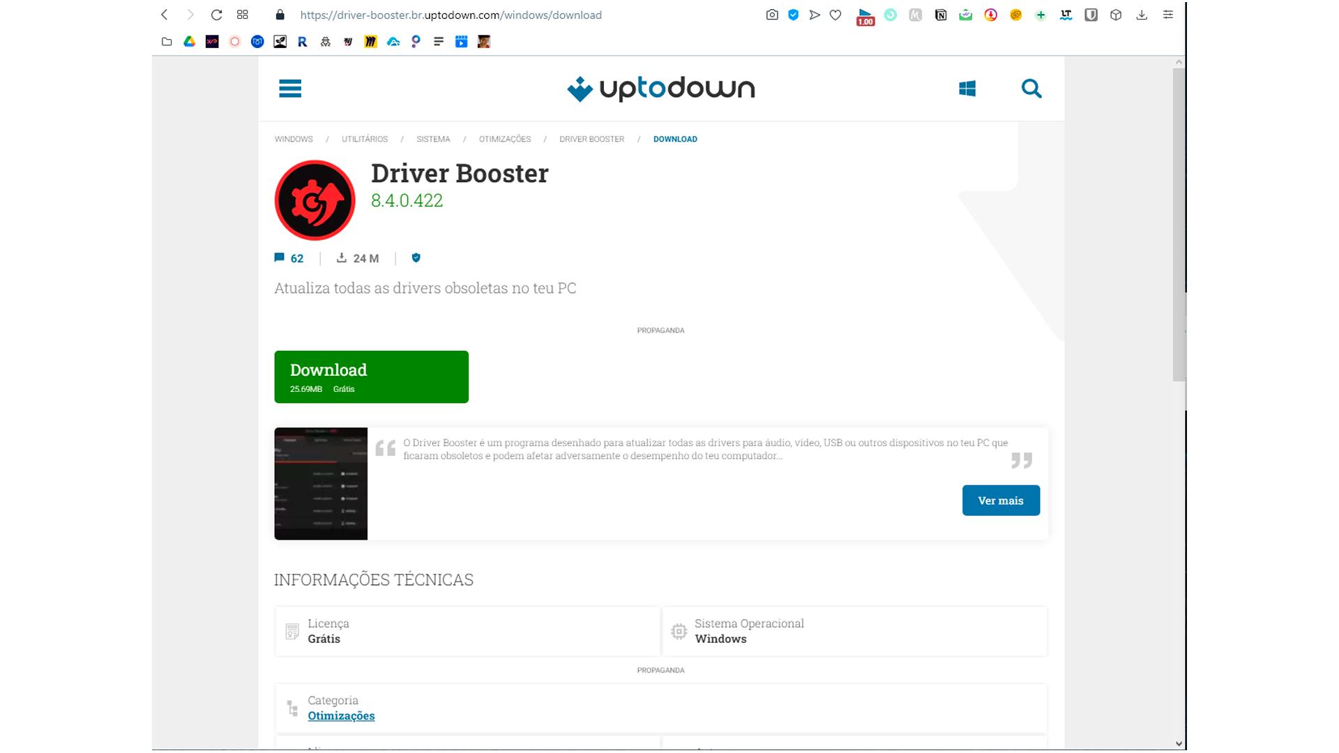 Para fazer o Driver Booster download acesse o site oficial (Foto/Hugo Iwaasa)