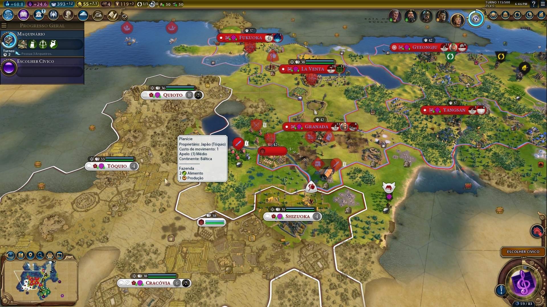 Jogos por turno como Civilization VI são uma ótima opção para monitores com frequência padrão (Fonte: Reprodução/Filipe Salles)