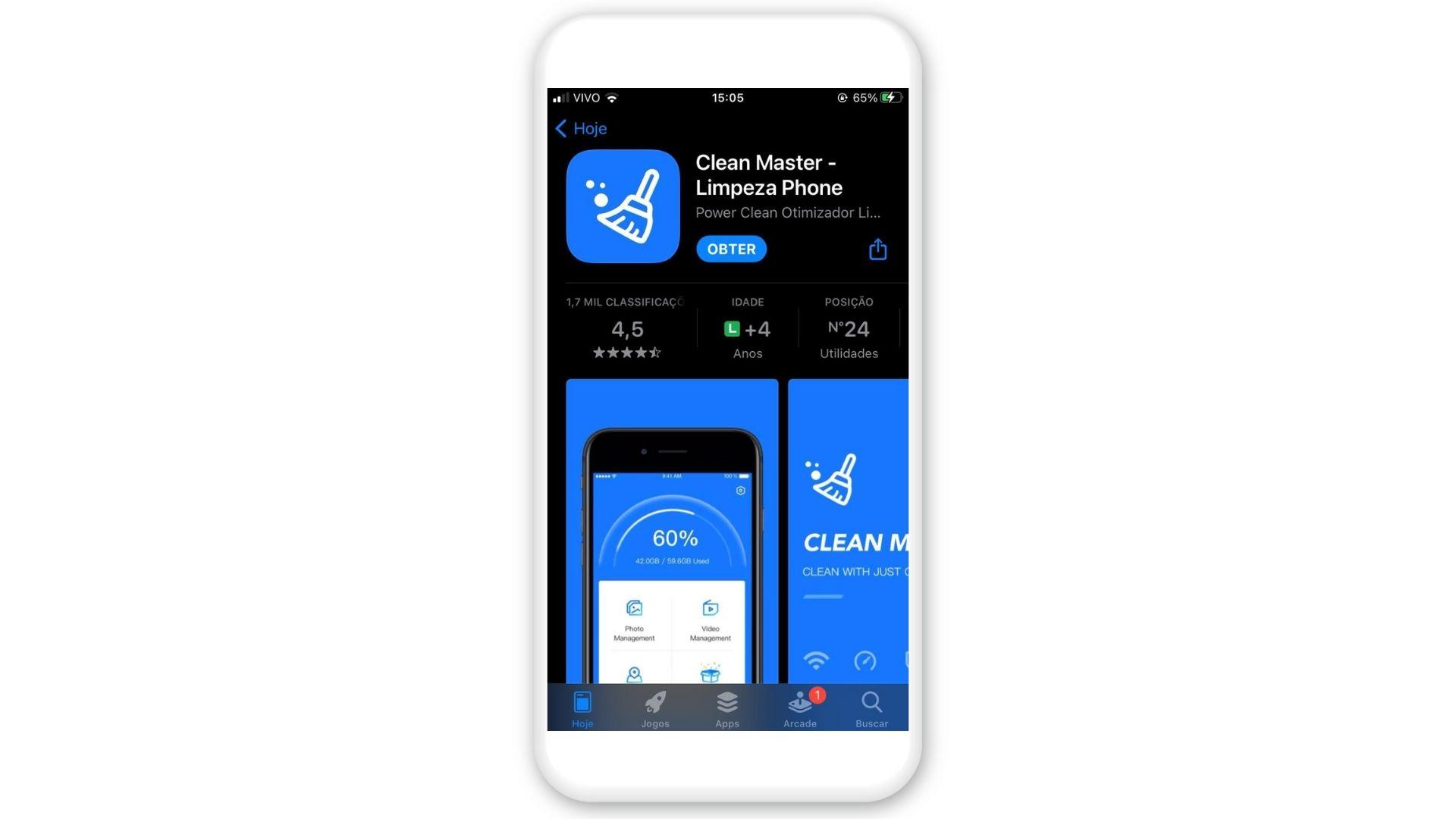 Como esvaziar a lixeira do celular? Baixe o Clean Master na App Store (Foto: Arte/Zoom)