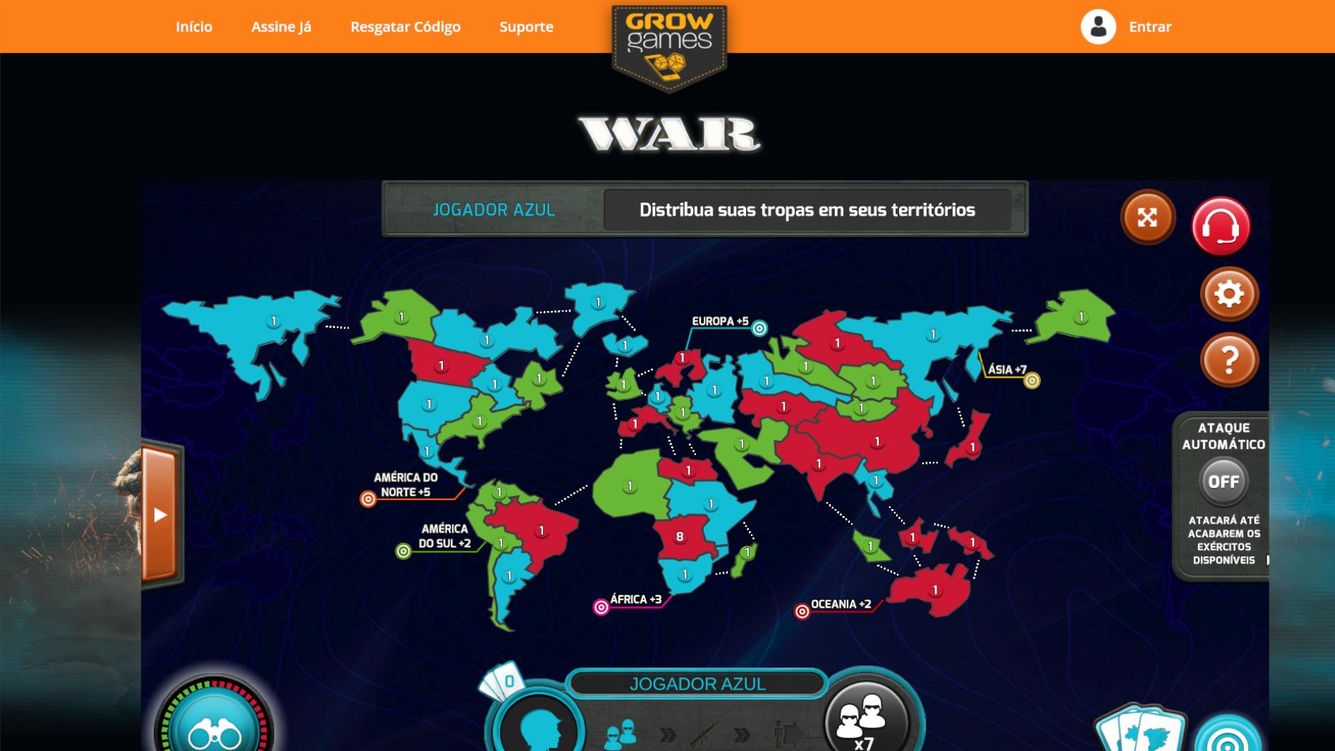 WAR Online é a versão online do clássico jogo de tabuleiro de estratégia (Foto: WAR Online)