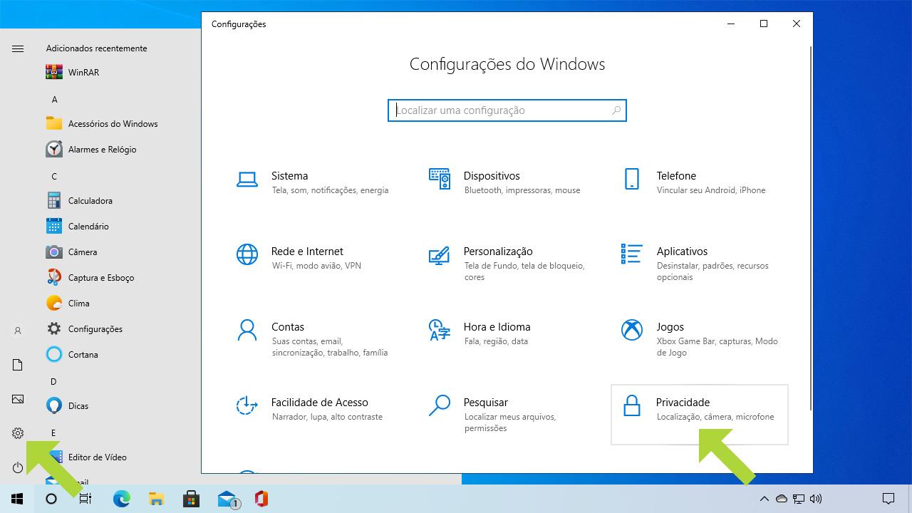 """Clique no ícone da engrenagem para abrir as configurações do Windows e selecione a opção """"Privacidade"""" (Reprodução: Redação Zoom)"""